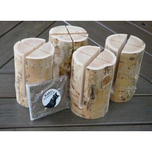 スウェーデントーチ4本1セット着火剤付 天然木 丸太 自然木 キャンプ用 スウェーデントーチ|wood