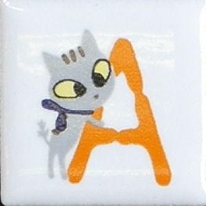 【陶器】【タイル】【アニーブンキャッツ】 ピチタイル文字「A」|wood
