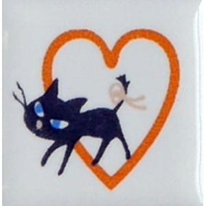 【陶器】【タイル】【アニーブンキャッツ】 ピチタイル文字「ハート」|wood