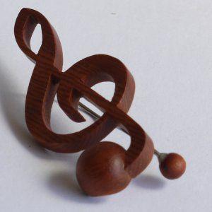 音符クリップ ト音記号:カリン【日本製】 |wood