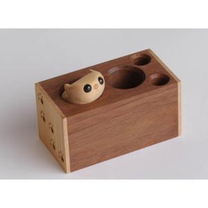モモンガペン立て 【日本製】木製文具 木のペン立 wood