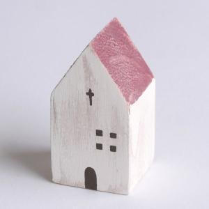木の家 赤の屋根 【置物】|wood