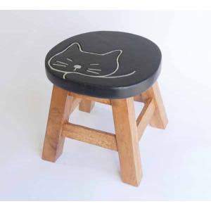 【木製雑貨】【木のスツール】 ラウンドスツール太っちょネコ|wood