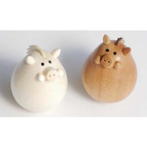 起き上がりいのしし(新)(セットではありません) 【日本製】木製干支置物 |wood