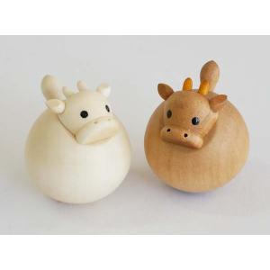 起き上がりうし(新)(セットではありません) 【日本製】木製干支置物 |wood