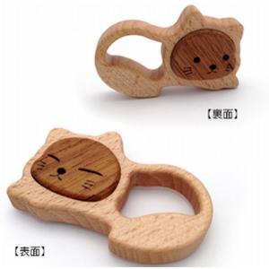 木のおもちゃ ブータレブー 木製ベビートイ ねむり猫のラトル|woodayice