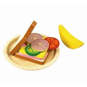 木のおもちゃ プラントイジャパンPLANTOYS 木製おままごと サンドイッチセット3464 woodayice
