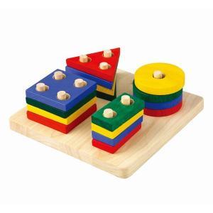 木のおもちゃ プラントイジャパンPLANTOYS 木製知育玩具 ジオメトリックソーティングボード2403|woodayice