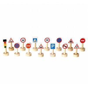 木のおもちゃ プラントイジャパンPLANTOYS 木製車両・列車玩具 交通標識と信号のセット6203|woodayice