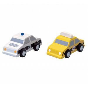 木のおもちゃ プラントイジャパンPLANTOYS 木製車両・列車玩具 タクシーとパトカー6073|woodayice