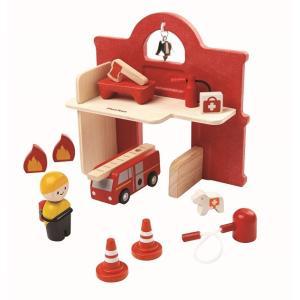 木のおもちゃ プラントイジャパンPLANTOYS 木製車両・列車玩具 ファイヤーステーション6619|woodayice