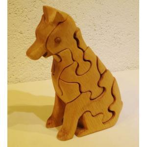 木のおもちゃ 初雁木材 木製パズル いぬ(お座り)|woodayice