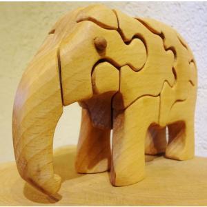 木のおもちゃ 初雁木材 木製パズル ぞう(下げ)|woodayice