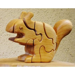 木のおもちゃ 初雁木材 木製パズル りす|woodayice