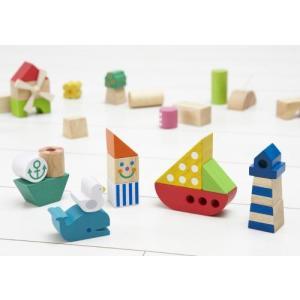 木のおもちゃ エド・インター 木製 積み木 マリンパーク806289|woodayice