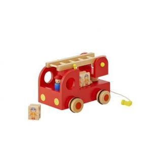 木のおもちゃ エド・インター 木製 車両・列車玩具 カタカタ 森の消防隊6810385|woodayice