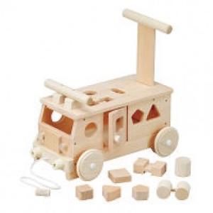 木のおもちゃ 平和工業 木製 押し車 森のパズルバスW-029 woodayice