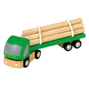 木のおもちゃ プラントイジャパンPLANTOYS 木製 車両・列車玩具 材木運搬車6005|woodayice