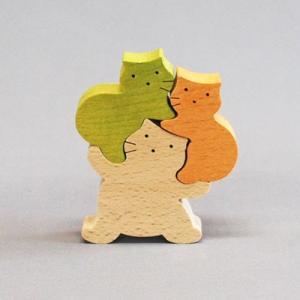 木のおもちゃ 横山組み木工房 木製 組み木 でぶねこB|woodayice
