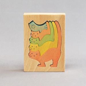 木のおもちゃ 横山組み木工房 木製 組み木 4匹のねこ|woodayice