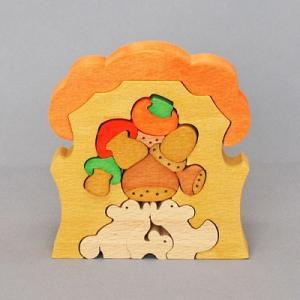 木のおもちゃ 横山組み木工房 木製 組み木 りすの家|woodayice