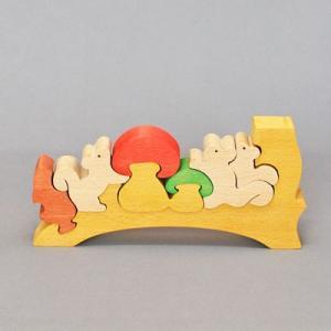 木のおもちゃ 横山組み木工房 木製 組み木 りすときのこ|woodayice
