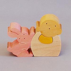 木のおもちゃ 横山組み木工房 木製 組み木 うさぎとお地蔵さん|woodayice
