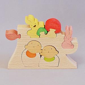 木のおもちゃ 横山組み木工房 木製 組み木 切り株とお地蔵さん|woodayice