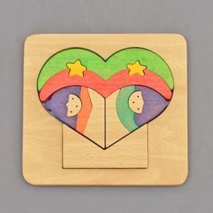 木のおもちゃ 横山組み木工房 木製 組み木 ハート歳時記 7月|woodayice