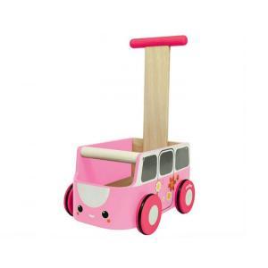 木のおもちゃ プラントイジャパンPLANTOYS 木製 押し車バンウォーカー ピンク 5185 woodayice