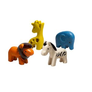 木のおもちゃ プラントイジャパンPLANTOYS 木製玩具 ワイルドアニマルセット 6128|woodayice