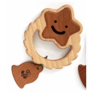 木のおもちゃ ブータレブー 木製ベビートイ サークルラトル・星|woodayice