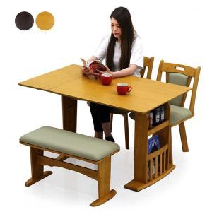 ダイニングテーブルセット 4人掛け 4点 折りたたみ 伸縮タイプ ラック付 ベンチ付 オーク突板 回転チェア 北欧 モダンの写真