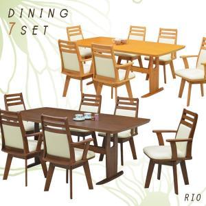 ダイニングテーブルセット 6人掛け 7点 テーブル幅180 アーム付き 回転チェアー PVC 合皮レ...