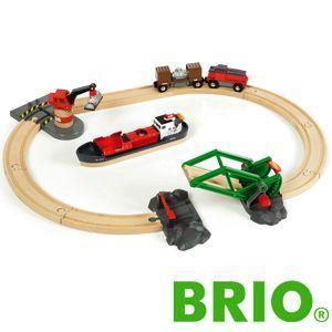 BRIO木製レールセット BRIOカーゴハーバーセット|woodwarlock