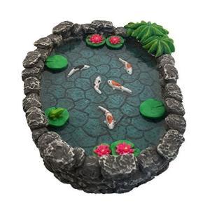 GlitZGlam KOI ミニチュア池 -フェアリーガーデン用鯉の池。製ミニチュアフェアリーガーデンと魔法の庭アクセサリー用ミニチュア池 woody-terrace