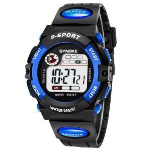 子供腕時計防水 デジタル表示 ledライト付き アラーム ストップウォッチ機能 12/24時刻切替え多機能スポーツ腕時計 (ブルー1) woody-terrace