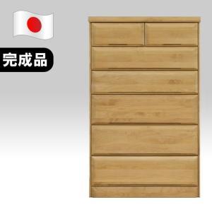 【日本製】シック アルダー 80cm幅 6段ハイチェスト ナチュラル 完成品