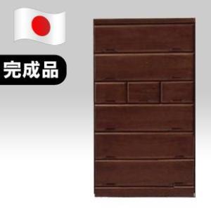 【日本製】カントリー風 105cm幅 6段ハイチェスト 桐タンス ブラウン 完成品