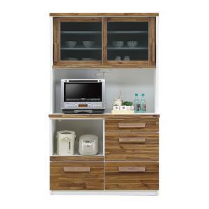 食器棚 レンジ台 完成品 引き戸 幅120cm ブラウン ホワイト 白 木製 和風モダン風