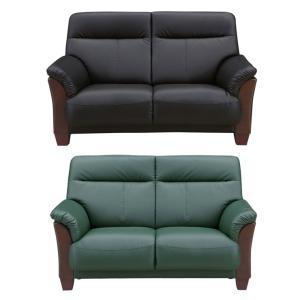 2人掛けソファー 幅140cm ブラック 黒 グリーン 緑 合皮製 モダン風