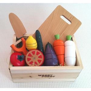 ウッディプッディ サラダセット 木箱入り 木のおもちゃ ままごと おままごと