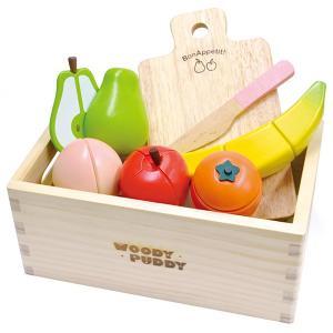 ウッディプッディ フルーツセット 木箱入り 木のおもちゃ ままごと おままごと