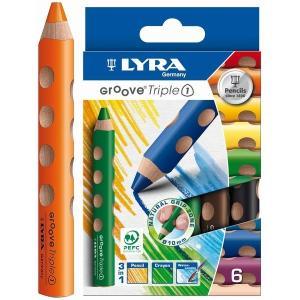 リラ社 LYRA グルーヴトリプルワン 6色 色えんぴつ 色鉛筆 クレヨン GROOVE