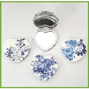コンパクトミラー 花柄 ハート型 [百合 芍薬 牡丹] 手鏡
