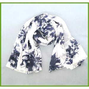 シルク100% スタイリッシュ スカーフ 大判 ロング ストール 極薄 ホワイト ネイビー ギフト