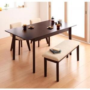 ダイニングテーブルセット 4点 北欧 ダイニング 4人用 4人 4点セット (幅120-150+回転チェア×2+ベンチ) ブラウン 茶色 食卓 四点セット 食卓セット テーブ|woooods