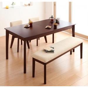 ダイニングテーブルセット 4点 北欧 ダイニング 4人用 4人 4点セット (幅150-200+回転チェア×2+ベンチ) ブラウン 茶色 食卓 四点セット 食卓セット テーブ|woooods