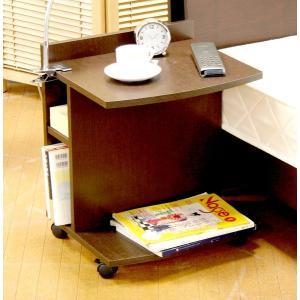 デスクワゴン プリンター台 キャスター付き サイドワゴン キャスター付き 作業台 サイドテーブル ブラウン 茶色 ベッドサイドテーブル テーブル|woooods