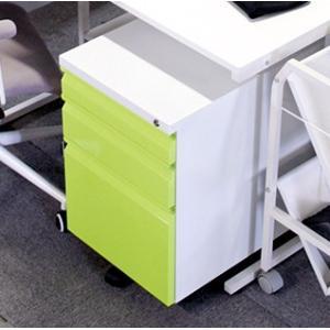 デスクワゴン プリンター台 キャスター付き サイドワゴン ファイルワゴン グリーン 緑 大容量 デスクキャビネット スチール製 鍵付き オールロック キャスタ|woooods